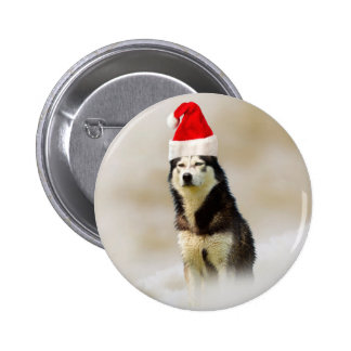 Siberian Husky Dog with Santa Hat in Snow 2 Inch Round Button