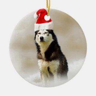 Siberian Husky Dog with Santa Hat in Snow Ceramic Ornament
