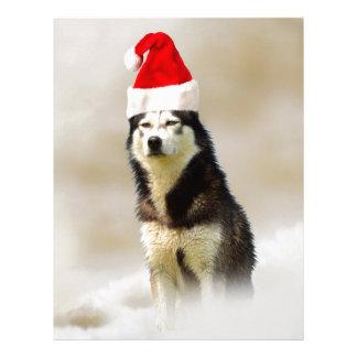 Siberian Husky Dog with Santa Hat in Snow Customized Letterhead