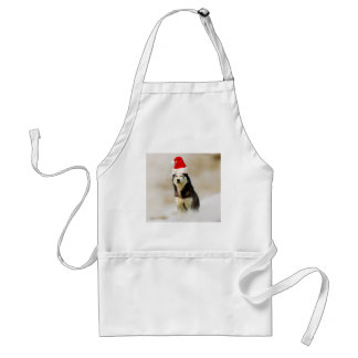Siberian Husky Dog with Santa Hat in Snow Standard Apron