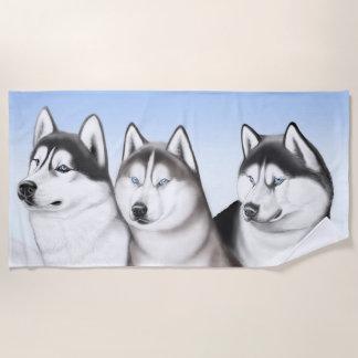 Siberian Husky Dogs Beach Towel