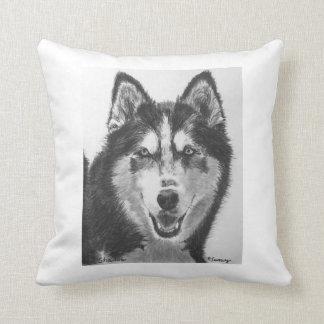 Siberian Husky Drawing Throw Pillow