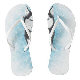 Siberian Husky Flip Flops