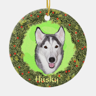 Siberian Husky For Xmas Ceramic Ornament