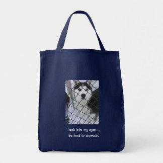 Siberian Husky Grocery Tote Bag