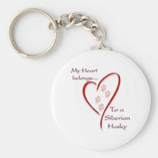 Siberian Husky Heart Belongs Keychain