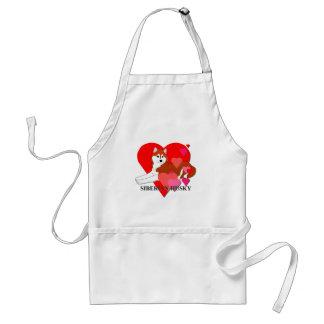Siberian Husky Hearts Standard Apron