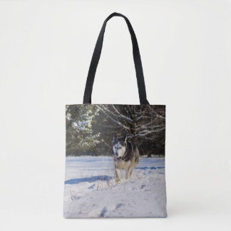 Siberian Husky In The Snow Tote Bag