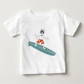 Siberian Husky Longboard Surfer Baby T-Shirt