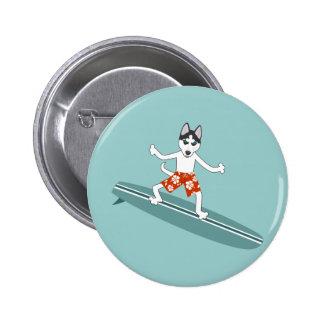 Siberian Husky Longboard Surfer Pin