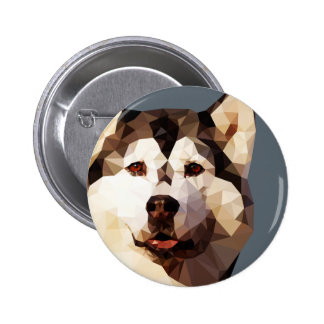 Siberian Husky Low Poly Art 2 Inch Round Button