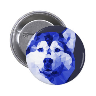 Siberian Husky Low Poly Art in Blue 2 Inch Round Button