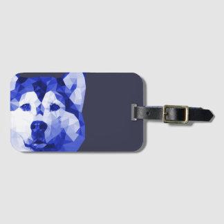 Siberian Husky Low Poly Art in Blue Luggage Tag