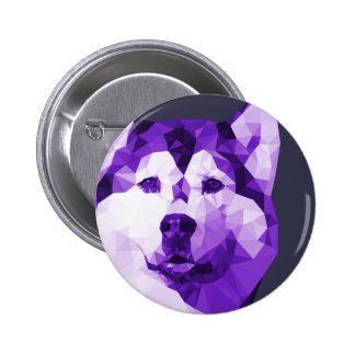 Siberian Husky Low Poly Art in Purple 2 Inch Round Button