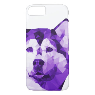 Siberian Husky Low Poly Art in Purple iPhone 8/7 Case