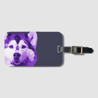 Siberian Husky Low Poly Art in Purple Luggage Tag