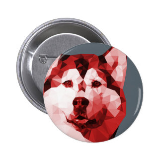Siberian Husky Low Poly Art in Red 2 Inch Round Button