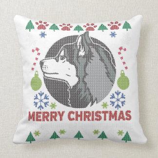 Siberian Husky Merry Christmas Ugly Sweater Design Throw Pillow