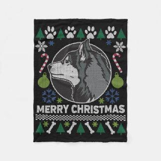 Siberian Husky Merry Christmas Ugly Sweater Fleece Blanket