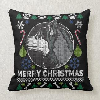 Siberian Husky Merry Christmas Ugly Sweater Throw Pillow