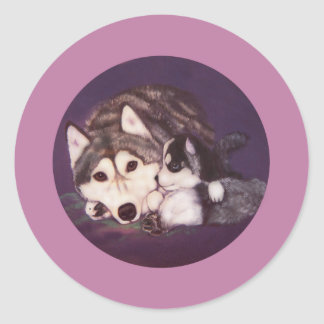 Siberian Husky Mom and Pup Classic Round Sticker