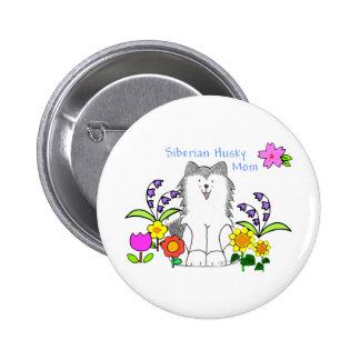 Siberian Husky Mom Button