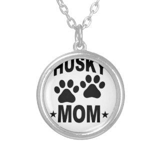 Siberian Husky MOM DOG.png Round Pendant Necklace