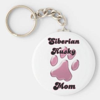 Siberian Husky Mom Pink Pawprint Keychain