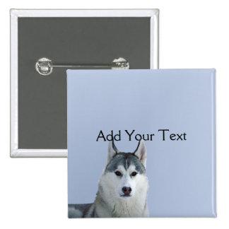 Siberian Husky on Blue Background Pinback Button