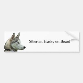Siberian Husky on board custom bumper sticker