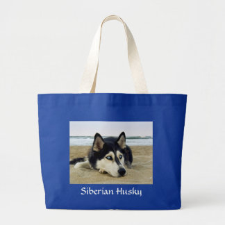 Siberian Husky on the Beach Budget Jumbo Tote Bag