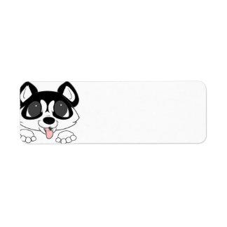 siberian husky peeking black and white return address label