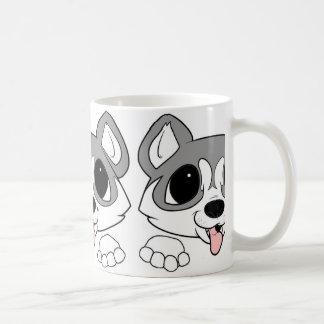 siberian husky peeking gray and white coffee mug
