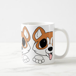 siberian husky peeking red and white coffee mug