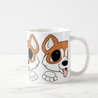 siberian husky peeking red and white coffee mug