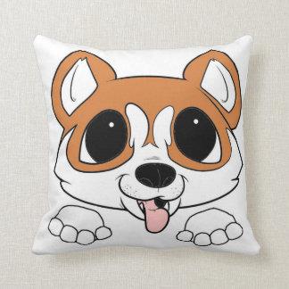 siberian husky peeking red and white throw pillow