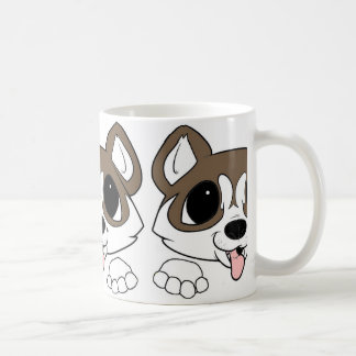 siberian husky peeking sable and white coffee mug