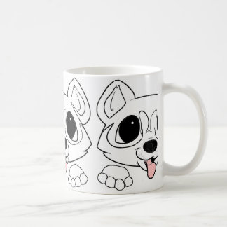 siberian husky peeking white coffee mug