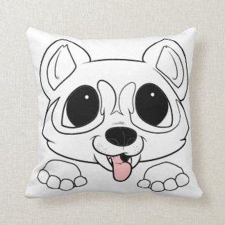 siberian husky peeking white throw pillow