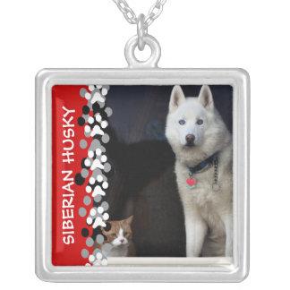 Siberian Husky Photo Square Pendant Necklace