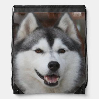 Siberian Husky Drawstring Bag