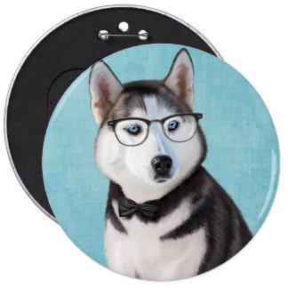 Siberian Husky portrait 6 Inch Round Button