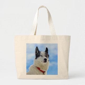 Siberian husky portrait jumbo tote bag