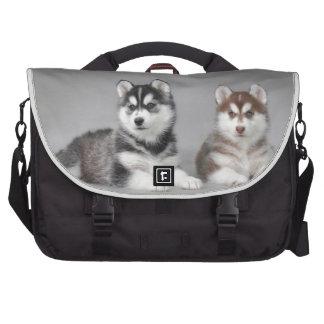 Siberian husky puppies laptop messenger bag