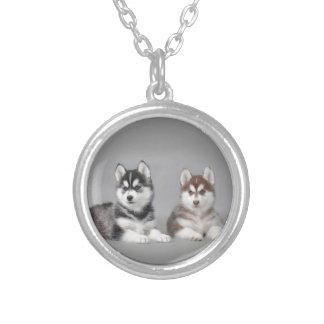 Siberian husky puppies round pendant necklace