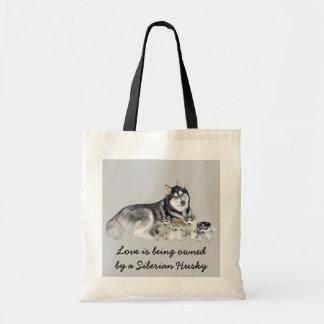 Siberian Husky & Puppies Tote Bag