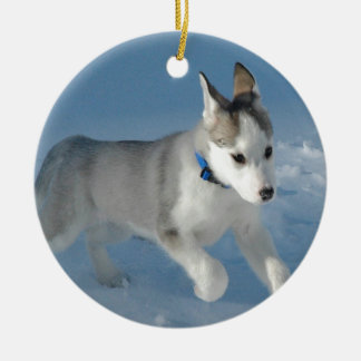 Siberian Husky Puppy Ceramic Ornament