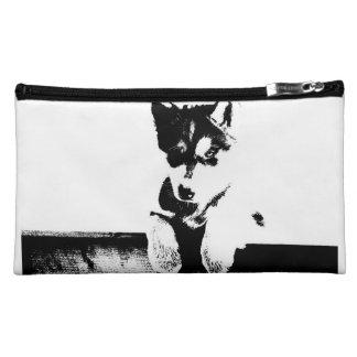 Siberian Husky Puppy Cosmetics Bags