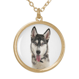 Siberian Husky Puppy Dog Gold Necklace Pendant