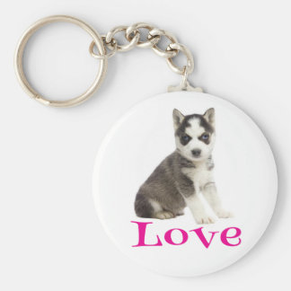 Siberian Husky Puppy Dog Purple Love Basic Round Button Keychain